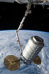 May 24, 2018 - Space - The Orbital ATK space freighter is slowly maneuvered by the Canadarm2 robotic arm toward the Unity module for installation on the International Space Station to resupply the Expedition 55 crew. (Credit Image: ? NASA/ZUMA Wire/ZUMAPRESS.com)
