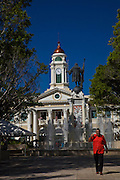 Historic Corinthian Alcaldia or town hall in Mayaguez Puerto Rico with statue of Christopher Columbus