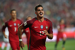 October 10, 2017 - Lisbon, Portugal - Portugal's forward Andre Silva celebrates after scoring a goal during the 2018 FIFA World Cup qualifying football match between Portugal and Switzerland at the Luz stadium in Lisbon, Portugal on October 10, 2017. Photo: Pedro Fiuza  (Credit Image: © Pedro Fiuza/NurPhoto via ZUMA Press)