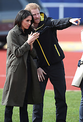 Prince Harry and Ms Meghan Markle attend the UK Team Invictus Games trials held at Bath University Sports training village in Somerset. Prince Harry and Ms Meghan Markle joined wounded, injured and sick military personnel and veterans who are trying out for a place on the UK team at the Invictus Games Sydney 2018 <br />Photo credit should read Chris Radburn/EMPICS Entertainment