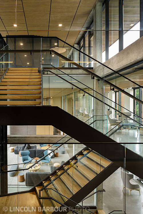 A graphic view of a stairwell in Trillium Residence Hall at Reed College showing how the different levels interact with each other.