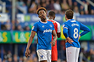 Portsmouth Forward, Jamal Lowe (18) scorer of 2 goals during the EFL Sky Bet League 1 match between Portsmouth and Fleetwood Town at Fratton Park, Portsmouth, England on 16 September 2017. Photo by Adam Rivers.