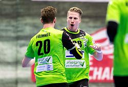 27.04.2018, BSFZ Suedstadt, Maria Enzersdorf, AUT, HLA, SG INSIGNIS Handball WESTWIEN vs Bregenz Handball, Viertelfinale, 1. Runde, im Bild Sebastian Frimmel (SG INSIGNIS Handball WESTWIEN), Wilhelm Jelinek (SG INSIGNIS Handball WESTWIEN) // during Handball League Austria, quarterfinal, 1 st round match between SG INSIGNIS Handball WESTWIEN and Bregenz Handball at the BSFZ Suedstadt, Maria Enzersdorf, Austria on 2018/04/27, EXPA Pictures © 2018, PhotoCredit: EXPA/ Sebastian Pucher