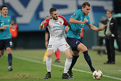 November 23, 2017 - Russia - forward Tigran Basregjan of FC Vardar and forward Artem Dzyuba of FC Zenit during UEFA Europa League Football match Zenit - Vardar. Saint Petersburg, November 23,2017 (Credit Image: © Anatoliy Medved/Pacific Press via ZUMA Wire)