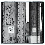 Advertisements painted on the metallic structure of Long Bien bridge, Hanoi, Vietnam, Southeast Asia