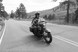 American Iron Magazine publisher Buzz Kanter riding his 1936 Harley-Davidson VLH during Stage 9 (249 miles) of the Motorcycle Cannonball Cross-Country Endurance Run, which on this day ran from Burlington to Golden, CO., USA. Sunday, September 14, 2014.  Photography ©2014 Michael Lichter.