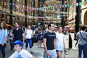 Flags of the World at Hays Galleria. The Mayor's Thames Festival is London's largest outdoor arts festival and one of the most spectacular events of the year. It is a celebration of London and the River Thames, one that is free and open to all. A vibrant mixture of live music, dance, art installations, carnival, river races and street arts, the festival transforms the Thames and its banks and brings Londoners together at the heart of their city.