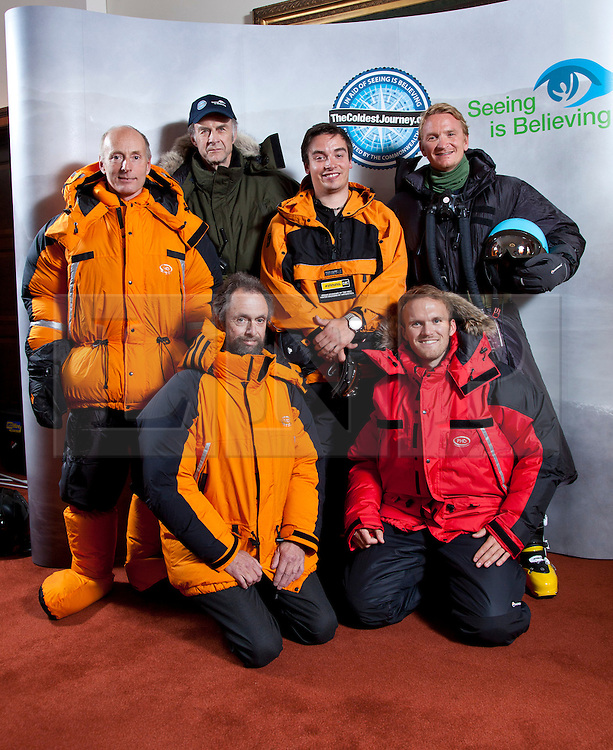 © Licensed to London News Pictures. 17/09/2012. London, United Kingdom ..Back L-R Brian Newham, Sir Ranulph Fiennes, Spencer Smirl and Ian Prickett (Ice Team).Front L-R Anton Bowring and Tristam Kaye (Support team on Ship and London HQ).Press call to announce Sir Ranulph Fiennes will be leading a team to take on the last remaining polar challenge by attempting to cross Antarctica in winter, the coldest journey on Earth...Photo credit : Chris Winter/LNP