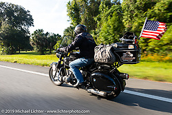 Insurance sponsor Greg Allen riding his antique BMW on the Cross Country Chase motorcycle endurance run from Sault Sainte Marie, MI to Key West, FL. (for vintage bikes from 1930-1948). 287 mile ride of Stage-8 from Tallahassee to Lakeland, FL USA. Friday, September 13, 2019. Photography ©2019 Michael Lichter.