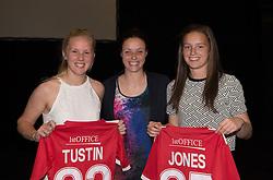 Lauren Smith presents shirts to Emma Tustin and Katie Jones who debuted for Bristol Academy this season - Photo mandatory by-line: Paul Knight/JMP - Mobile: 07966 386802 - 11/10/2015 - Sport - Football - Bristol - Stoke Gifford Stadium - Bristol Academy WFC End of Season Awards 2015