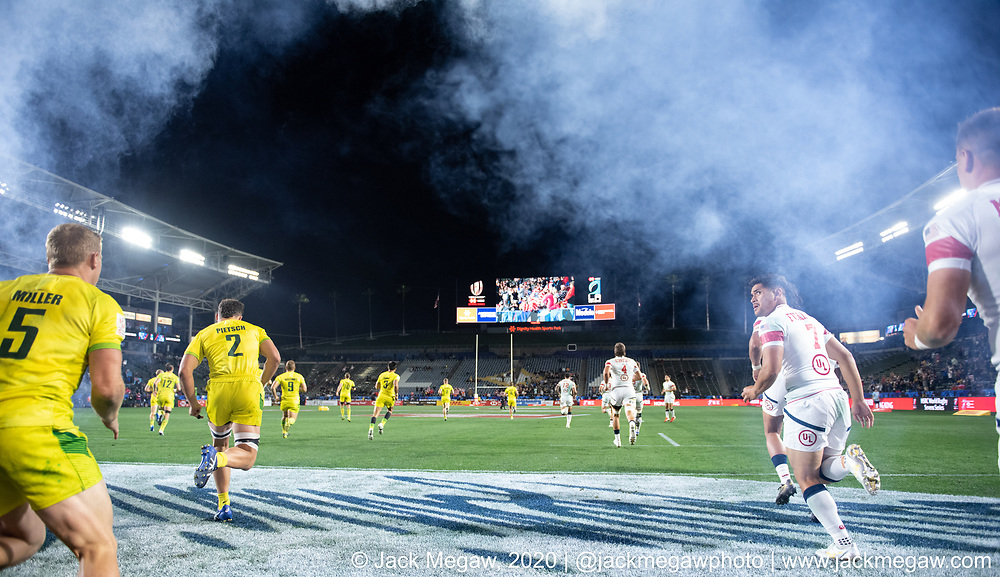 M24 - Australia and the United States compete in the group stages of the 2020 Los Angeles Sevens at Dignity Sports Health Park in Los Angeles, California. February 29, 2019. <br /> <br /> © Jack Megaw, 2020