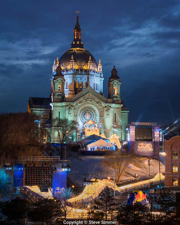 For seven years the Red Bull Crashed Ice downhill skating races have been held in St. Paul. The backdrop for this extravaganza is the historic St. Paul Cathedral. The Crashed Ice crew augments the already beautiful church with a top notch light show.