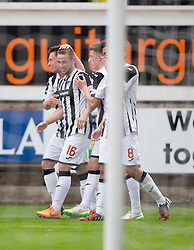 Dunfermline's Ryan Wallace (16) cele scoring their sixth goal. <br /> Dunfermline 7 v 1 Cowdenbeath, SPFL Ladbrokes League Division One game played 15/8/2015 at East End Park.