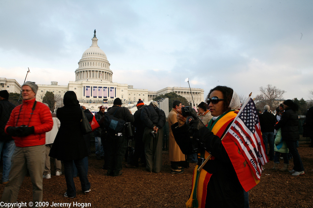 Obama supporters gather around the Capitol building on the eve of the Inauguration.