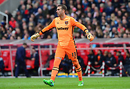 Adrian , the goalkeeper of West Ham utd looks on. Premier league match, Stoke City v West Ham Utd at the Bet365 Stadium in Stoke on Trent, Staffs on Saturday 29th April 2017.<br /> pic by Bradley Collyer, Andrew Orchard sports photography.