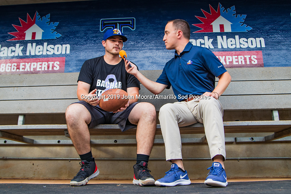 Amarillo Sod Poodles infielder Kyle Overstreet (3) is interviewed before the game against the Tulsa Drillers during the Texas League Championship on Friday, Sept. 13, 2019, at OneOK Field in Tulsa, Oklahoma. [Photo by John Moore/Amarillo Sod Poodles]