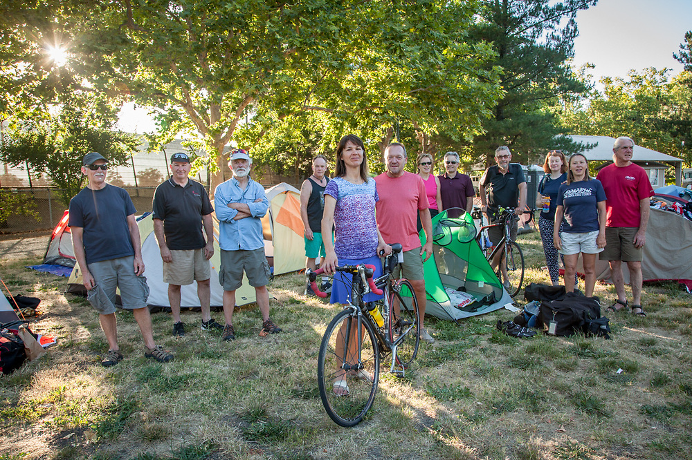 """Suzanne Slivkoff with other participants in the """"Sierra to the Sea"""" bicycle ride from Bear Valley to the Golden Gate Bridge, overnight at the Calistoga RV Park."""