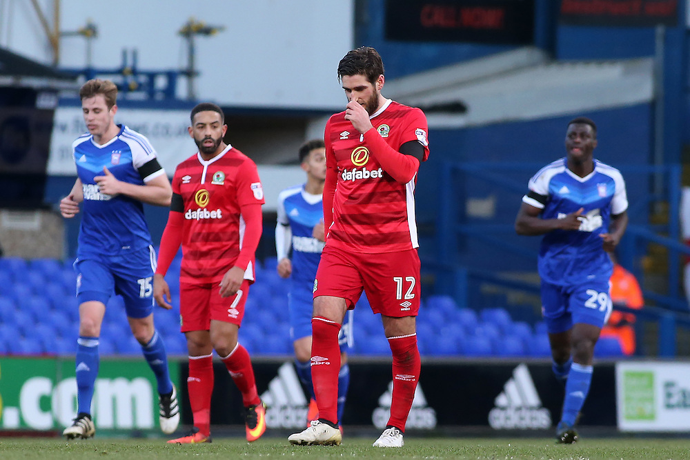 Blackburn Rovers' Danny Graham looks dejected after his side go 1-0 down<br /> <br /> Photographer David Shipman/CameraSport<br /> <br /> The EFL Sky Bet Championship - Ipswich Town v Blackburn Rovers - Saturday 14th January 2017 - Portman Road - Ipswich<br /> <br /> World Copyright © 2017 CameraSport. All rights reserved. 43 Linden Ave. Countesthorpe. Leicester. England. LE8 5PG - Tel: +44 (0) 116 277 4147 - admin@camerasport.com - www.camerasport.com