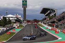 May 13, 2018 - Barcelona, Catalonia, Spain - The safety car followed by 44 Lewis Hamilton from Great Britain Mercedes W09 Hybrid EQ Power+ team Mercedes GP during the Spanish Formula One Grand Prix at Circuit de Catalunya on May 13, 2018 in Montmelo, Spain. (Credit Image: © Xavier Bonilla/NurPhoto via ZUMA Press)