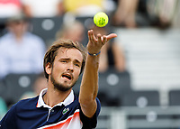Tennis - 2019 Queen's Club Fever-Tree Championships - Day Six, Saturday<br /> <br /> Men's Singles, Semi Final: Daniil Medvedev (RUS) Vs. Gilles Simon (FRA) <br /> <br /> Daniil Medvedev (RUS) serves on Centre Court.<br />  <br /> COLORSPORT/DANIEL BEARHAM