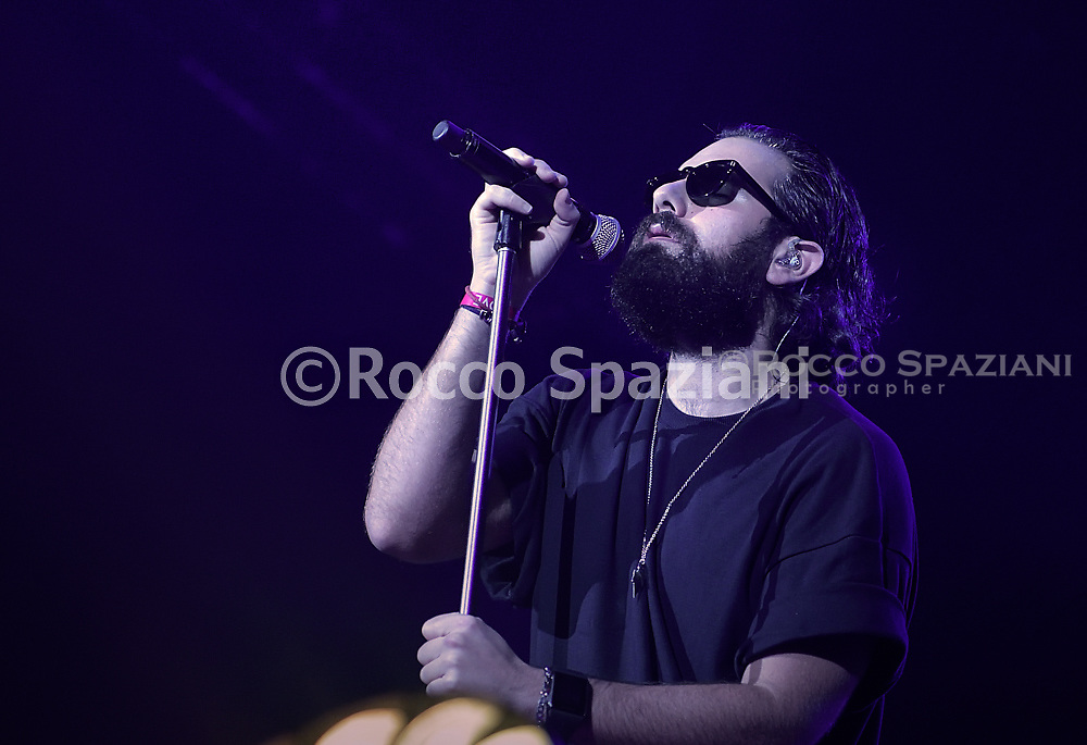 """Italian singer Tommaso Paradiso of Italian rock band Thegiornalisti performs on stage for  in concert in Rome Palalottomatica with the Love all sold out tour.""""8 Ottobre 2018<br /> By photo Rocco Spaziani"""