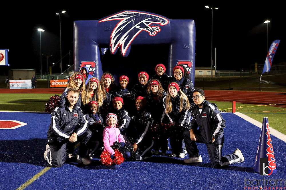 Bishop Dunne cheerleaders pose for a photo before the TAPPS Division I state championship game on Saturday, Dec. 3, 2016 at Panther Stadium in Hewitt, Texas. Bishop Lynch High School won 21-17. (Photo by Kevin Bartram)