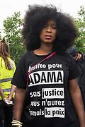 Thousands of protesters demonstrate in respect for deaths of black people in police custody. Black Saturday commemoration of the deaths of Adama Traore and Lamine Dieng in France and George Floyd in USA. Place de la Republique, Paris, June 20, 2020. Photography by Nigel Dickinson / Hans Lucas.<br /> Des milliers des gens manifestent dans le respect de la mort de Noirs en garde a vue. Samedi noir commemoration de la mort d Adama Traore et Lamine Dieng en France et de George Floyd aux Etats-Unis. Place de la Republique, Paris, 20 juin 2020. Photographie par Nigel Dickinson / Hans Lucas.
