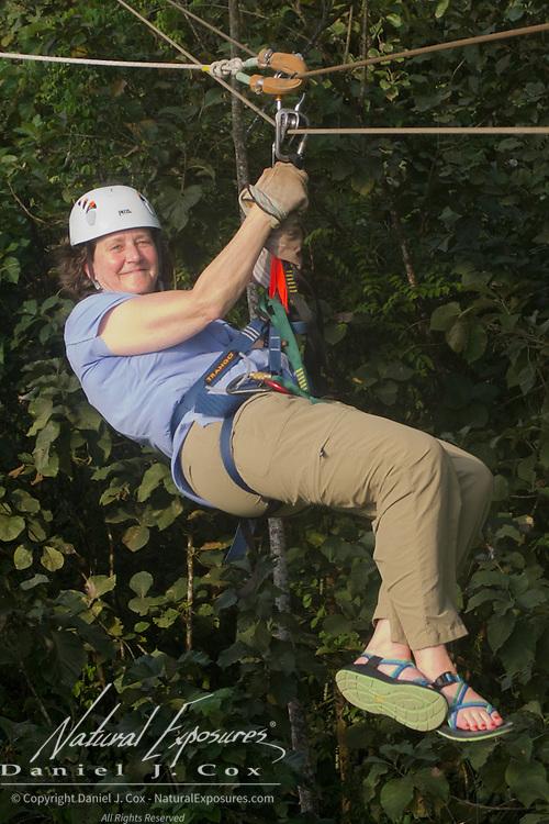 Tish zip lining in Costa Rica.