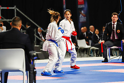 November 10, 2018 - Madrid, Madrid, Spain - Wen Tzu-Yun (TPE) figth with Alekhina Valeriia (RUS) for third place of Female Kumite -55 Kg during the Finals of Karate World Championship celebrates in Wizink Center, Madrid, Spain, on November 10th, 2018. (Credit Image: © AFP7 via ZUMA Wire)