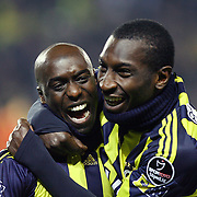Fenerbahce's Mamadou NIANG (R) celebrate his goal with Issiar DIA (L) during their Turkish superleague soccer match Fenerbahce between Kayserispor at the Sukru Saracaoglu stadium in Istanbul Turkey on Monday 14 February 2011. Photo by TURKPIX