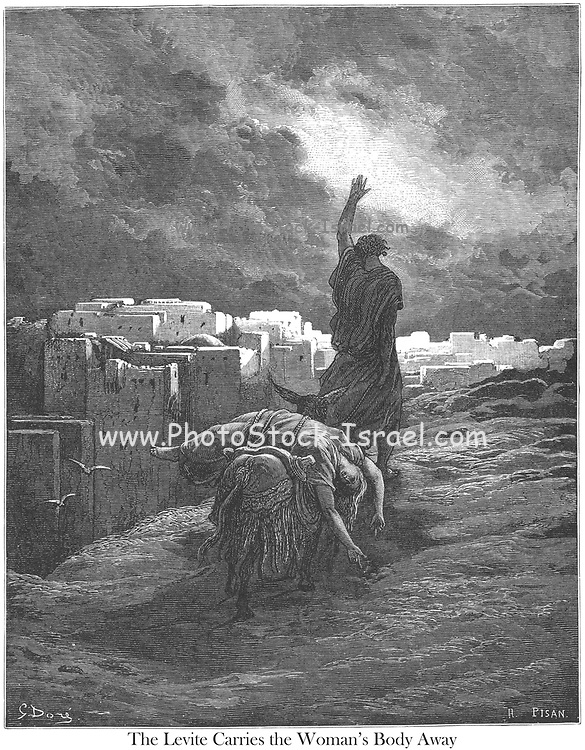 The Levite Bearing Away the Body of his Woman Judges 19:30 From the book 'Bible Gallery' Illustrated by Gustave Dore with Memoir of Dore and Descriptive Letter-press by Talbot W. Chambers D.D. Published by Cassell & Company Limited in London and simultaneously by Mame in Tours, France in 1866