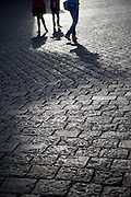 Cobblestone pavement at Hradcanske Namesti (Prague Castle Square) in front of the main entrance to the castle.