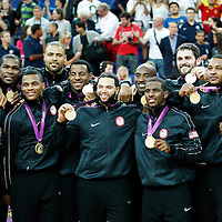 12 August 2012: Team USA poses wearing gold medals following the 107-100 Team USA victory over Team Spain, during the men's Gold Medal Game, at the North Greenwich Arena, in London, Great Britain.