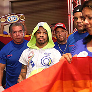 KISSIMMEE, FL - JULY 15: Orlando Cruz is seen during his walkout for his fight against  Alejandro Valdez  at the Kissimmee Civic Center on July 15, 2016 in Kissimmee, Florida. Cruz was the first professional boxer to announce himself as gay and recently lost four friends in the Pulse Nightclub shooting in Orlando, he dedicated this match to his lost friends and won the bout by TKO in the 7th round.  (Photo by Alex Menendez/Getty Images) *** Local Caption *** Orlando Cruz; Alejandro Valdez