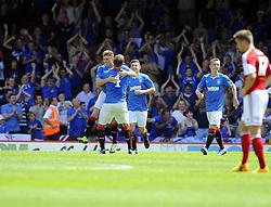 Glasgow Rangers' Lewis Macleod celebrates his goal - Photo mandatory by-line: Joe Meredith/JMP - Tel: Mobile: 07966 386802 13/07/2013 - SPORT - FOOTBALL - Bristol -  Bristol City v Glasgow Rangers - Pre Season Friendly - Bristol - Ashton Gate Stadium