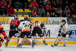 08.01.2017, Ice Rink, Znojmo, CZE, EBEL, HC Orli Znojmo vs Dornbirner Eishockey Club, 41. Runde, im Bild v.l. Jan Lattner (HC Orli Znojmo) Brock McBride (Dornbirner) Marek Biro (HC Orli Znojmo) Kevin Macierzynski (Dornbirner) Michael Caruso (Dornbirner) // during the Erste Bank Icehockey League 41th round match between HC Orli Znojmo and Dornbirner Eishockey Club at the Ice Rink in Znojmo, Czech Republic on 2017/01/08. EXPA Pictures © 2017, PhotoCredit: EXPA/ Rostislav Pfeffer
