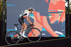 Hanna Nilsson (SWE) climbs onto the presentation stage at the 2020 La Course By Le Tour with FDJ, a 96 km road race in Nice, France on August 29, 2020. Photo by Sean Robinson/velofocus.com