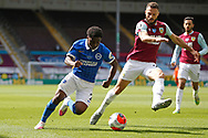 Brighton and Hove Albion defender Tariq Lamptey (2) goes past Erik Pieters of Burnley (23)   during the Premier League match between Burnley and Brighton and Hove Albion at Turf Moor, Burnley, England on 26 July 2020.