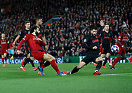 Mohamed Salah of Liverpool shoots across the goal mouth  during the UEFA Champions League match at Anfield, Liverpool. Picture date: 11th March 2020. Picture credit should read: Darren Staples/Sportimage