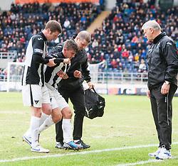 Dunfermline's Josh Falkingham off injured. Falkirk 1 v 0 Dunfermline, 16/2/2013..©Michael Schofield.