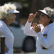 Bibine Belausteguigoitia, Mexico, (left) and Rita Orice, USA,  in action in the 80 Womens Singles during the 2009 ITF Super-Seniors World Team and Individual Championships at Perth, Western Australia, between 2-15th November, 2009.
