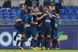 September 20, 2017 - Rome, Lazio, Italy - Dries Mertens of Napoli celebrating with the teammates during the Serie A match between SS Lazio and SSC Napoli at Stadio Olimpico on September 20, 2017 in Rome, Italy. (Credit Image: © Matteo Ciambelli/NurPhoto via ZUMA Press)
