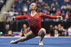 March 2, 2019 - Greensboro, North Carolina, US - GRACE MCCALLUM competes on the floor exercise at the Greensboro Coliseum in Greensboro, North Carolina. (Credit Image: © Amy Sanderson/ZUMA Wire)