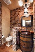 Wine Barrel Bathroom Vanity Interior Stock Photo