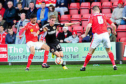 Bristol City's Joe Bryan is challenged by Crewe Alexandra's Matt Tootle - Photo mandatory by-line: Dougie Allward/JMP - Tel: Mobile: 07966 386802 19/10/2013 - SPORT - FOOTBALL - Alexandra Stadium - Crewe - Crewe V Bristol City - Sky Bet League One
