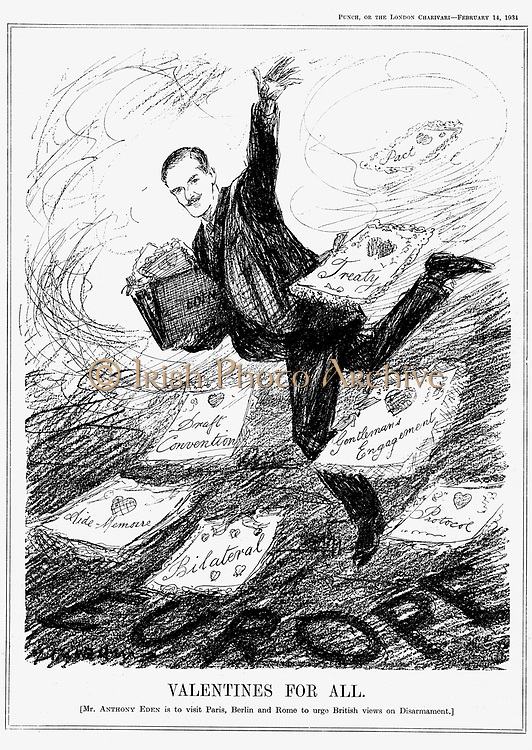 Disarmament: Anthony Eden, lst Earl of Avon (1897-1977) British Conservative statesman. Prime Minister 1955-1957. Cartoon from 'Punch', 14 February 1934,  showing Eden when Under-Secretary for Foreign Affairs visiting Paris, Berlin and Rome to discuss disarmament.