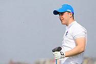 Cathal French (Blackrock Collage) on the 1st tee during the Final of the Irish Schools Senior Championship at Portstewart Golf Club, Portstewart, Co Antrim on Tuesday 23rd April 2019.<br /> Picture:  Thos Caffrey / www.golffile.ie