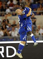 Fotball<br /> Kvalifisering UEFA Europa League<br /> Roma v Gent<br /> 30.07.2009<br /> Foto: Photonews/Digitalsport<br /> NORWAY ONLY<br /> <br /> JOIE  VREUGDE JUBILATION LEYE MBAYE