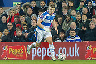 Queens Park Rangers defender Jake Bidwell (3) during The FA Cup 5th round match between Queens Park Rangers and Watford at the Loftus Road Stadium, London, England on 15 February 2019.