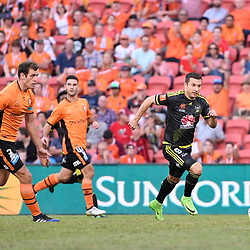 BRISBANE, AUSTRALIA - APRIL 16: Kosta Barbarouses of the Phoenix dribbles the ball during the round 27 Hyundai A-League match between the Brisbane Roar and Wellington Phoenix at Suncorp Stadium on April 16, 2017 in Brisbane, Australia. (Photo by Patrick Kearney/Brisbane Roar)